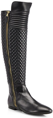 Brian Atwood Ares Quilted Leather Knee-High Boots