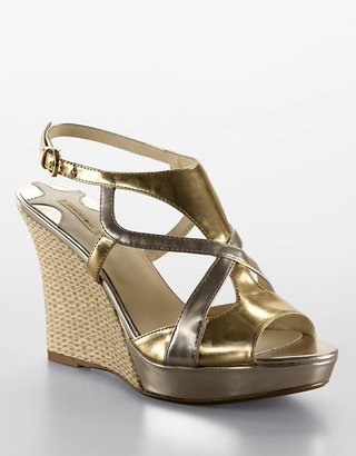 Max Studio Cander Leather Platform Wedge Sandals