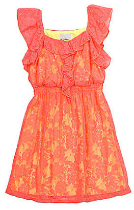 Rare Editions 7-16 Two-Tone Crotchet Lace Dress