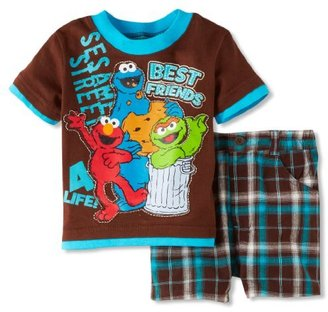 Sesame Street Baby-Boys Infant 2 Piece Elmo Plaid Short Set