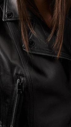 Burberry Peplum Detail Lambskin Biker Jacket