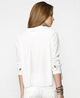 Denim & Supply Ralph Lauren Lace-Trim Pleated Cropped Shirt