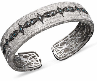 Macy's Blue and White Diamond Bangle Bracelet in Sterling Silver (3/4 ct. t.w.)