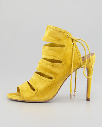 Aquazzura Slone Slit-Front Suede Bootie, Yellow