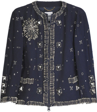 Moschino Embellished wool-blend cropped jacket