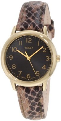 Timex Women's T2N965 Elevated Classics Taupe Python Patterned Strap Watch $47.99 thestylecure.com