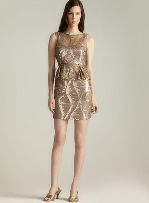 Adrianna Papell Sequin & Lace Peplum Dress