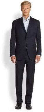 Saks Fifth Avenue Collection Black Label Two-Button Wool Suit