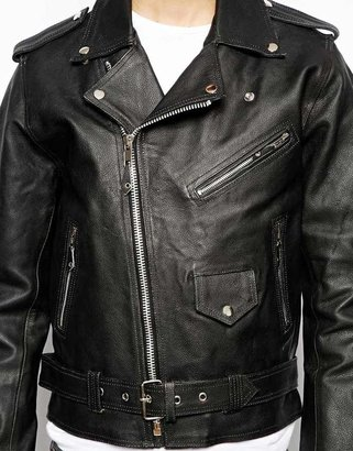 Reclaimed Vintage Leather Jacket with Skull and Roses Back Print