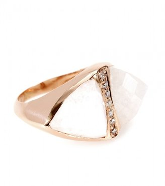 Jacquie Aiche 14KT ROSE GOLD DOUBLE TRIANGLE MOONSTONE BEZEL RING WITH WHITE PAVÉ DIAMONDS