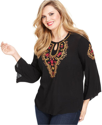 Style&Co. Plus Size Top, Three-Quarter-Sleeve Embroidered Keyhole Peasant