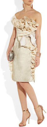 Lanvin Ruffled Satin Dress - Off-white
