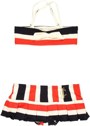 Juicy Couture Miniature Port Stripe Bandeau Top w/ Skirt Bottom (Toddler/Little Kids/Big Kids) (Siren Multi) - Apparel