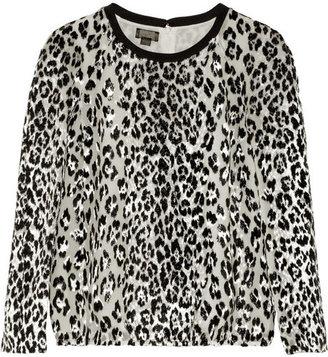 Giambattista Valli Leopard-jacquard and silk-chiffon top