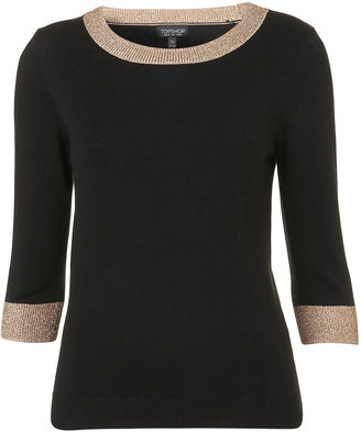 Knitted Shimmer Trim Top