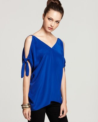 Akiko Silk Crepe de Chine Open-Shoulder Top
