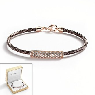 14k Rose Gold Plate & Stainless Steel Brown Ion Crystal Bead Cable Bracelet