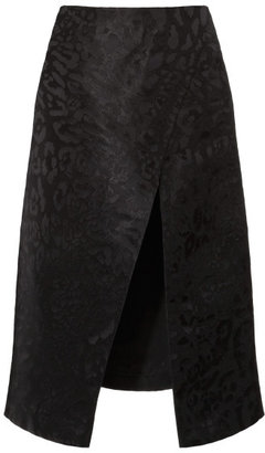 Rodarte Black Silk Brocade Leopard Skirt