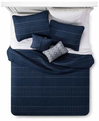 Navy Blake Microfiber Embroidered Multiple Piece Quilt Set - 5-pc