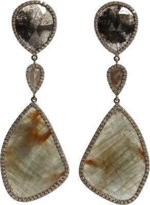 Monique Péan Atelier Opaque Grey Diamond & Sapphire Earrings