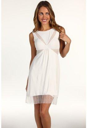 BCBGMAXAZRIA Petite Minette Lace Detail Dress (Gardenia) - Apparel
