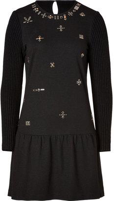 Vanessa Bruno Wool Embellished Front Dress in Black