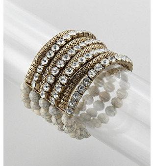 Relativity Goldtone Metal and Beaded Stretch Bracelet