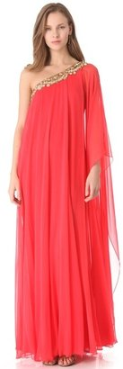 Notte by Marchesa One Shoulder Caftan Gown