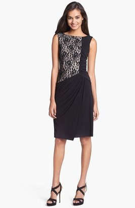 Maggy London Lace & Ruched Jersey Dress