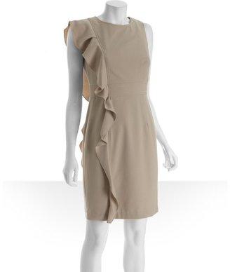 Calvin Klein khaki knit ruffle side sleeveless dress