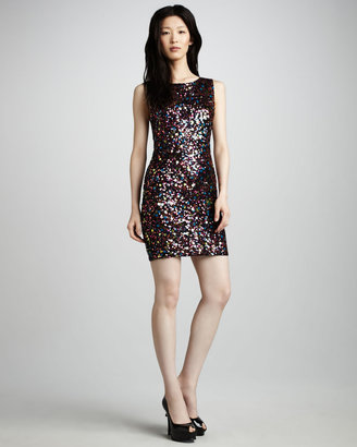 Alice + Olivia Mona Sleeveless Sequined Dress