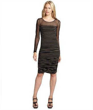 BB Dakota black and concrete striped jersey and mesh 'Noel' dress