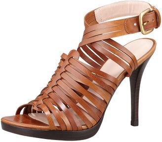 Stuart Weitzman Arriba Huarache Strappy Sandal, Saddle