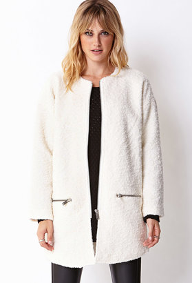Forever 21 FOREVER 21+ Contemporary Collarless Bouclé Coat