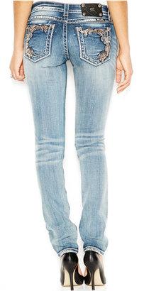 Miss Me Jeans, Skinny Embroidered Patch-Pocket, Light Blue Wash