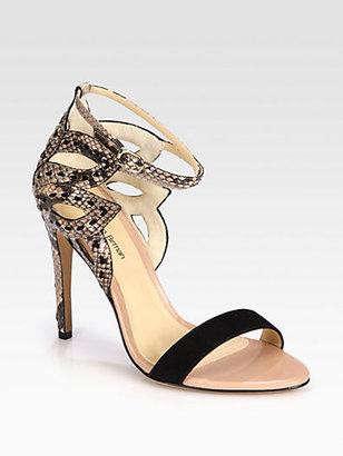 Alexandre Birman Flower Cutout Python & Suede Sandals