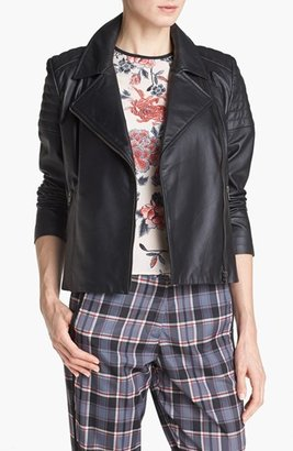 Mural Quilted Leather Biker Jacket