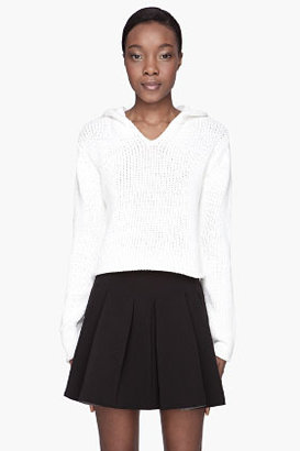 Alexander Wang White Chunky Cotton cropped Sweater