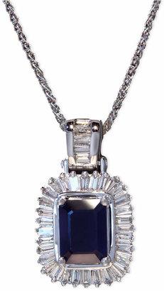 Effy Gemma by Sapphire (1-1/2 ct. t.w.) and Diamond (1/2 ct. t.w.) Emerald-Cut Pendant in 14k White Gold