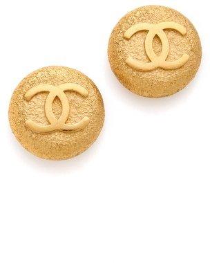 WGACA Vintage Chanel Textured CC Earrings