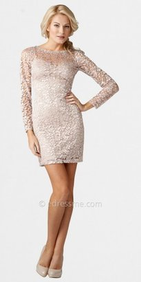 Aidan Mattox Blush Long Sleeved Lace Cocktail Dresses