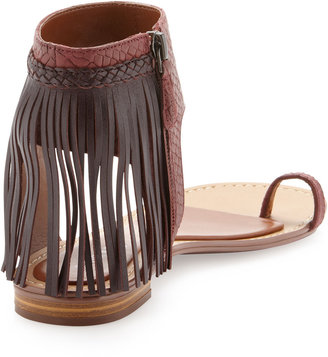 Boutique 9 Baste Fringe Ankle Flat Sandal, Deep Purple/Heather