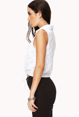 Forever 21 Eyelet Front-Tie Shirt