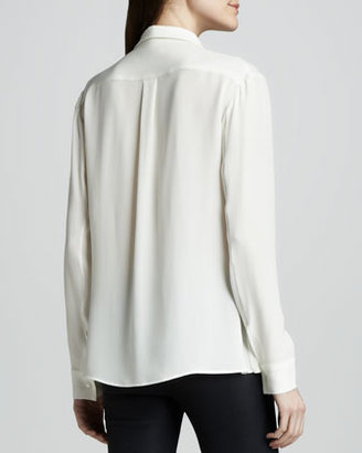 Theory Driya Silk Hidden-Button Blouse