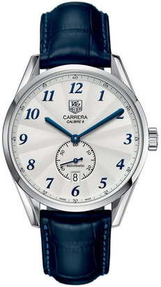 TAG Heuer Men's Swiss Automatic Carrera Calibre 6 Blue Alligator Leather Strap Watch 39mm WAS2111.FC6293