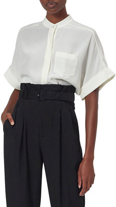 Equipment Alvia Elbow-Sleeve Silk Button-Down Shirt