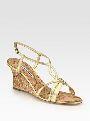 Manolo Blahnik Martinawed Metallic Leather Cork Wedge Sandals