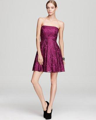 Aqua Strapless Dress - Metallic Lace