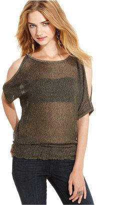 Planet Gold Juniors Sweater, Short Sleeve Sheer Metallic