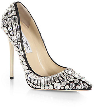 Jimmy Choo Tia Jeweled Leather Pumps